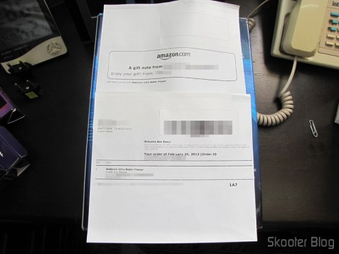 Invoice da Amazon com o Waterpik Ultra Water Flosser
