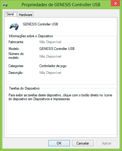 Propriedades do Cabo Adaptador para conectar dois Joysticks de Mega Drive (Sega Genesis) no PC via USB (Genesis to PC USB Cable BRAND NEW for Sega Genesis)