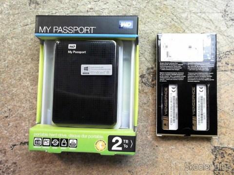 Photo Shipito: Hard disc (HD) Externo Portátil WD My Passport 2TB USB 3.0 Black and Laptop memories Corsair Vengeance 16GB (2x8GB) DDR3 1600MHz