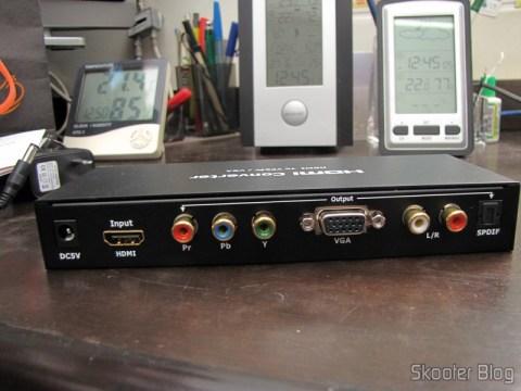 Painel traseiro do Conversor HDMI para VGA / Componente YPbPr / SPDIF, Colorido, Alta Definição (HDMI to VGA High Definition Color Converter w/ YPbPr / SPDIF - Black + White)