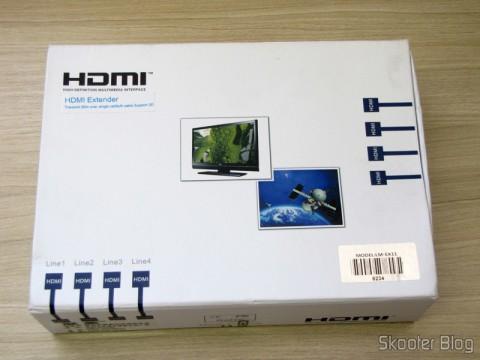 Conjunto Transmissor + Receptor Extensor de HDMI LINK-MI LM-EX11 (LINK-MI LM-EX11 HDMI Extender Transmitter + Receiver Set - Black) em sua caixa