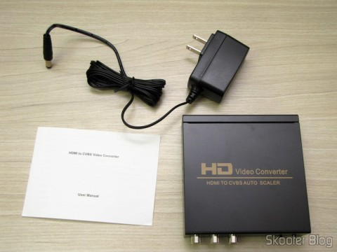 Converter HDMI to Composite Video (CVBS) + Stereo Audio (HDMI to CVBS Video Converter), manual and power supply