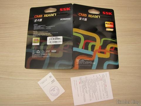 Embalagem e manual do Leitor de Cartões SD, Micro SD / TF / MS / CF SSK SCRM059 USB 3.0 Alta Velocidade 5Gbps (SSK SCRM059 High Speed 5Gbps USB 3.0 SD, Micro SD / TF / MS / CF Card Reader - Black (64GB))
