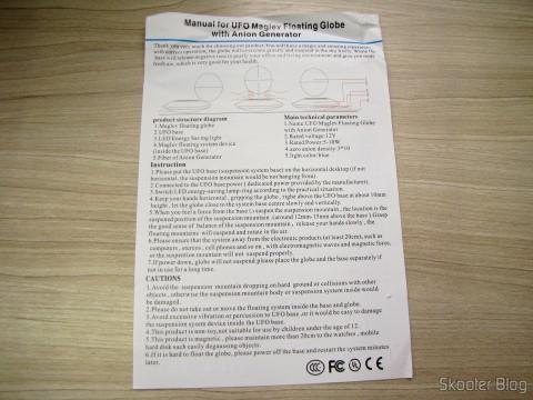 Manual de Instruções em Inglês do Globo Flutuante Maglev UFO Cheerlink 106mm c/ Gerador de Ânions (CHEERLINK 106mm UFO Maglev Floating Globe w/ Anion Generator – Blue + Black (US Plug / AC 100~240V))