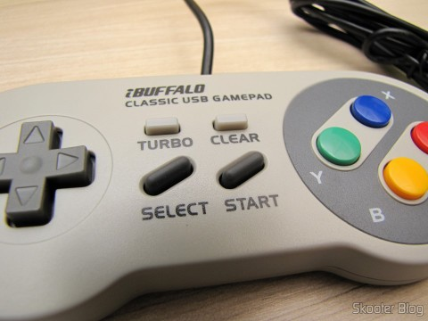 TURBO, CLEAR, SELECT, e START no Gamepad de Super Nintendo (SNES) para PC Buffalo (Super Nintendo Famicom SNES Gamepad for PC (PC) (BUFFALO))