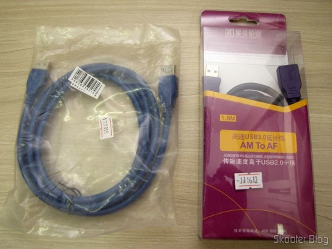 USB Extension Cable 3.0 Male to Female Blue High Speed 185cm (High Speed USB 3.0 Male to Female Extension Cable - Blue (185cm)) and USB Cable Extension 3.0 Male to Female Millionwell 180cm (MILLIONWELL USB 3.0 Male to Female Extension Cable (180cm)), in their packaging