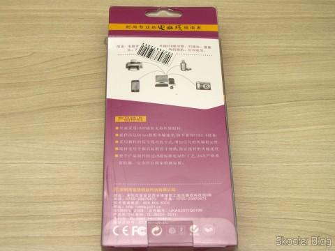 Embalagem do Cabo Extensão USB 3.0 Macho para Fêmea Millionwell 180cm (MILLIONWELL USB 3.0 Male to Female Extension Cable (180cm))