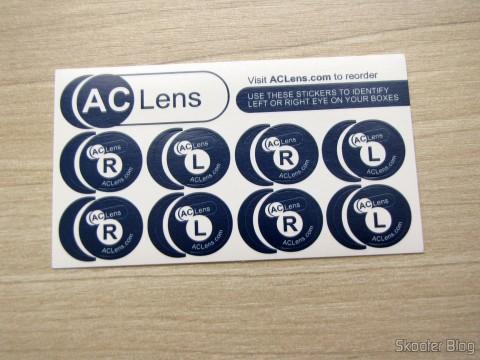 Adesivos para identificar as caixas de lentes de contatos, brinde da AC Lens