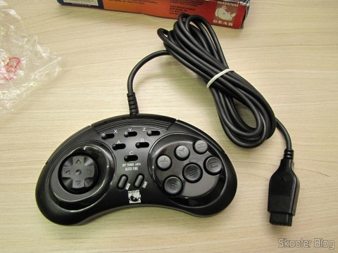 One of the two controllers 6 Buttons ASCII 'Rhino' for Mega Drive (NEW Sega Genesis 6 Button RHINO PAD controller control)