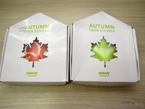 To-Door Style Orange Maple Leaf (Maple Leaf Style Door Stopper Guard - Orange) and To-Door Style Maple Leaf Green (YSDX-382 Maple Leaf Style EVA Door Stopper - Green), in their packaging