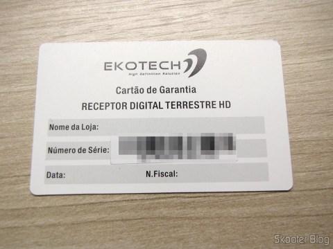 Cartão de garantia do Ekotech ZBT-670N