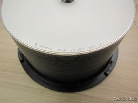 Detalhe em uma das mídias do Tubo com 50 Discos Blu-Ray Graváveis BD-R 25GB Verbatim 6X