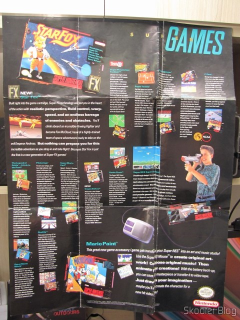 Pôster com jogos e acessórios que acompanha o Super Nintendo