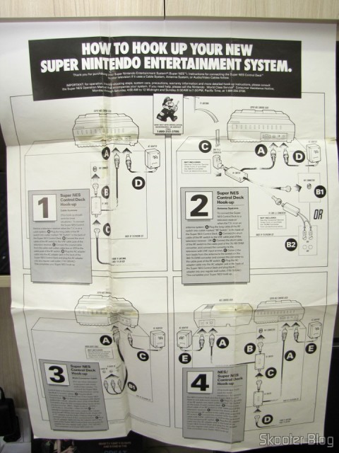 Poster verse with games and accessories that came with the Super Nintendo, instructions on how to connect it to the TV