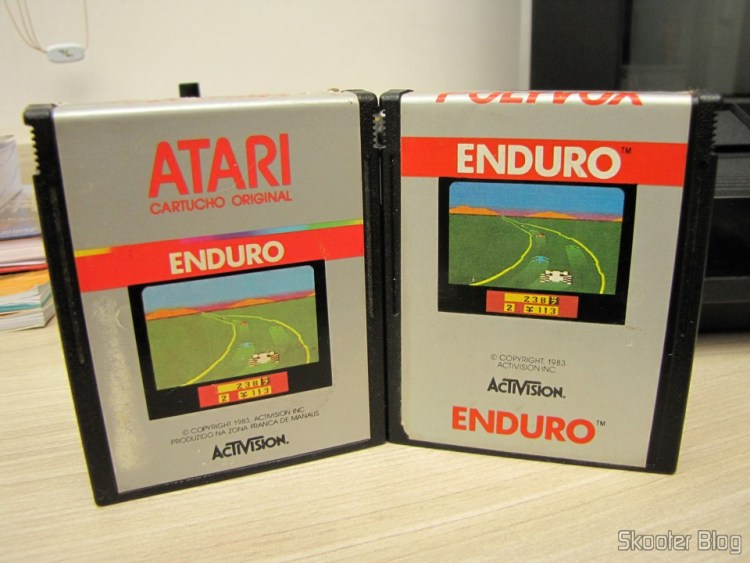 Different labels of the cartridges with the game Enduro, Atari 2600, manufactured by Polyvox