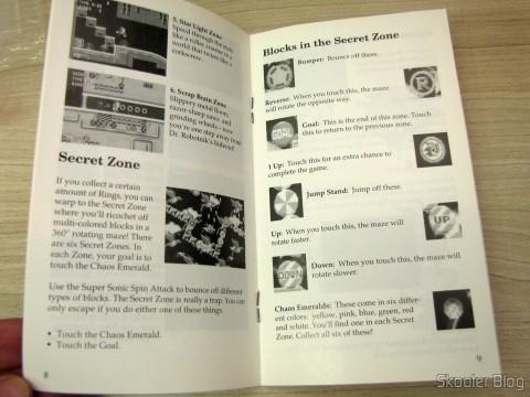 Manual do Sonic The Hedgehog do Sega Genesis