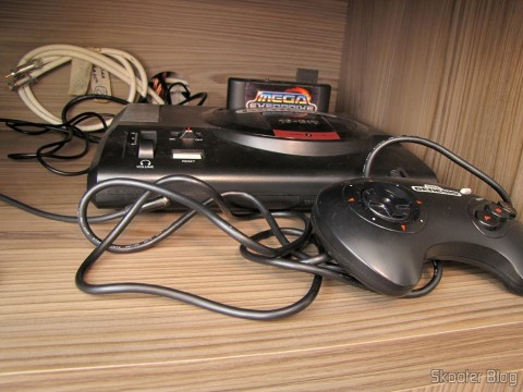 SCART RGB cable for Mega Drive 1 / Sega Genesis 1 / Mega Drive 2 by Tec Toy with Stereo Audio (Pack-a-Punched!) installed on the Sega Genesis