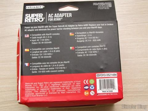 Fonte de Alimentação para Atari 2600 da Retro-bit, em sua embalagem