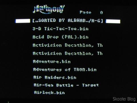 Tela do Harmony Cartridge - O cartucho com memória flash para o Atari 2600