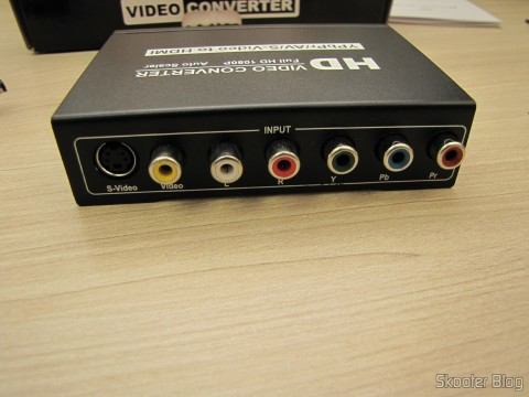 Rear part of the Component Video Converter (YPbPr), S-Video, Composed Video (CVBS) and Stereo Audio to HDMI (YPbYPbPrCVBCVBSS-video to HDMI Video Converter - Black (100~ 240V))
