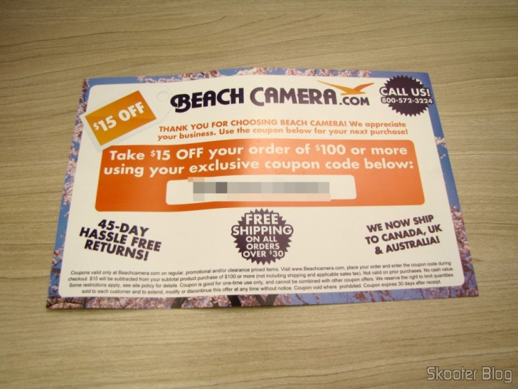 Coupon discounts for the next purchase at Beach Camera