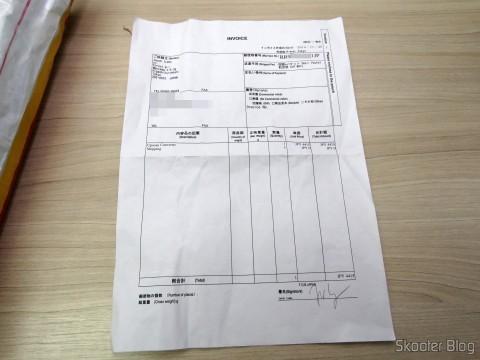 Invoice no pacote com o Framemeister XRGB Mini