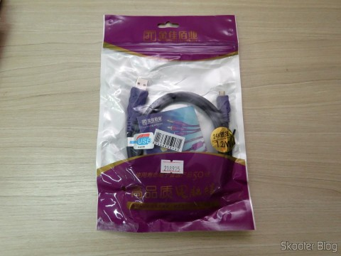 Millionwell 01.0287 USB Male to Micro USB Male Data / Charging Cable – Purple (1.2m), on its packaging
