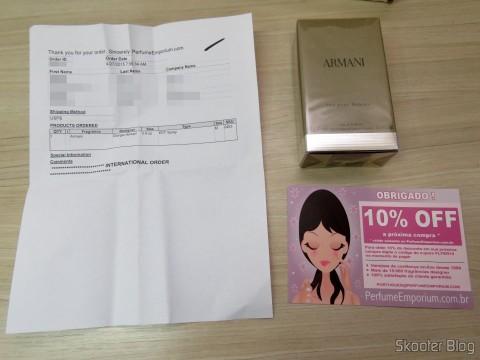 Pacote da Perfume Emporium com o Armani 3.4 oz (100ml) EDT Spray