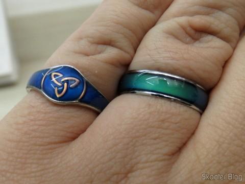 Anel do Humor (Mood Ring) com 12 Cores Variáveis por Emoções Prateado e Anel do Humor Celta da Irlanda