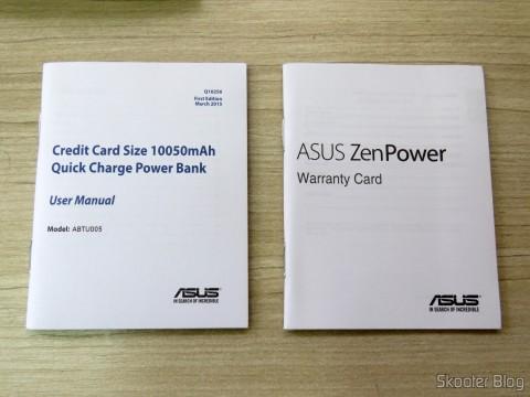 Manual de instruções e Cartão de garantia do ASUS ZenPower 10050 mAh