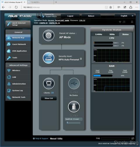 ASUS RT-AC68U Dual Band Gigabit Router 802.11ac Wireless-AC1900, em modo AP