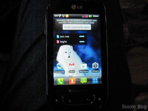 LG P698, em roaming em Cingapura