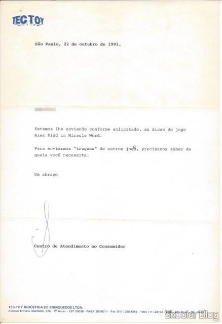Carta da Tec Toy redigida em 22 de Outubro de 1991 em resposta à minha primeira carta à eles