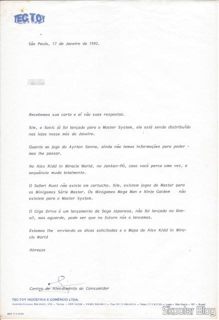 Carta da Tec Toy – 17 de Janeiro de 1992