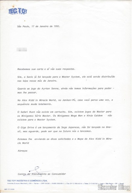 Letter from Tec Toy- 17 January 1992