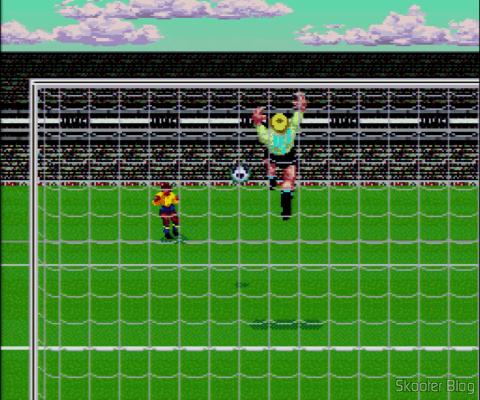Goal! - Super Nintendo - A câmera atrás do gol em alguns chutes de fora da área