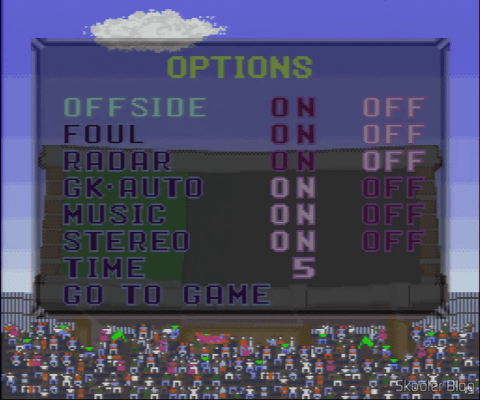 Goal! - Super Nintendo - The options screen