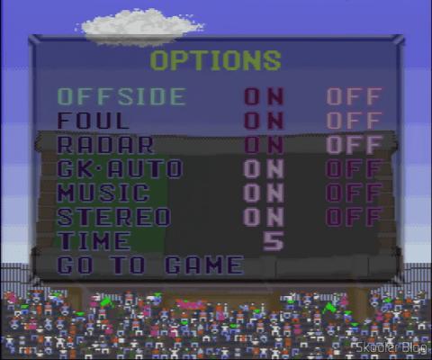 Goal! - Super Nintendo - A tela de opções