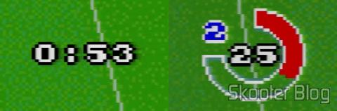 Cronômetro do Goal! à esquerda e do Super Cup Soccer, à direita