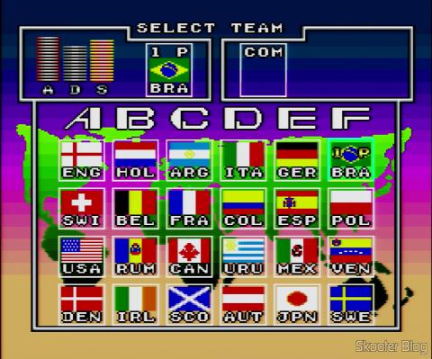 Goal! - Super Nintendo - A tela de seleção de times