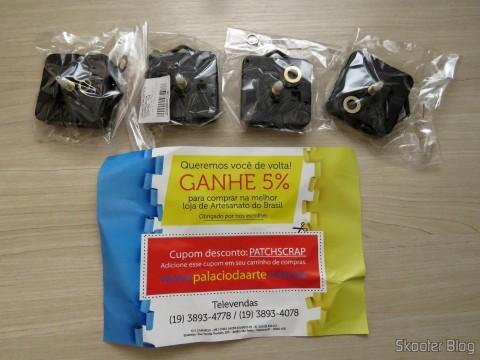 4 Máquinas De Relógio Quartz 13mm Com Alça E Eixo - Uniart e cupom de desconto para a próxima compra