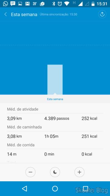 Mi Fit gera gráfico de barras das atividades por horas, dias, semanas, meses...