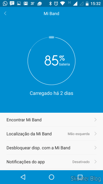 Battery charge and Mi Band settings in Mi Fit