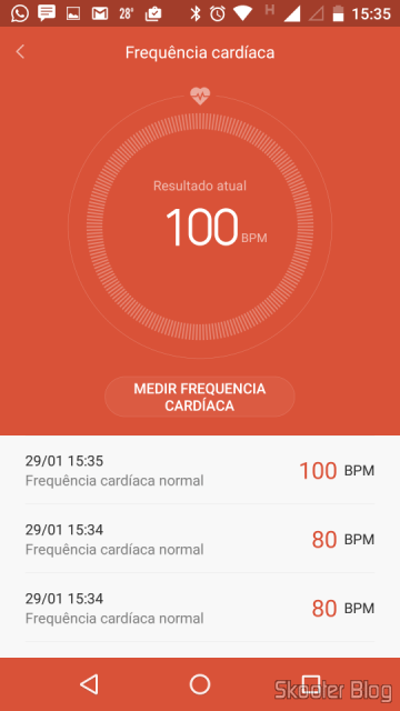 Checking the heart rate with the Mi and Mi Band 1S