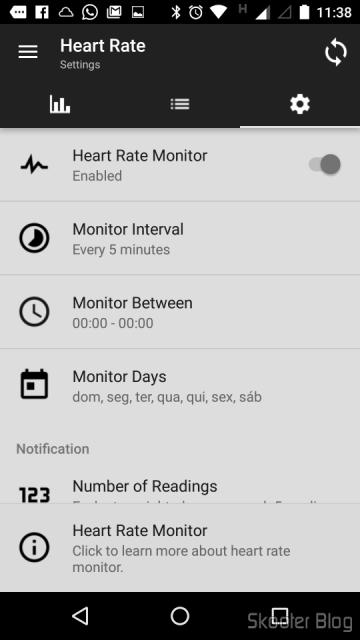 É possível monitorar a frequência cardíaca em intervalos especificados no Mi Band Tools