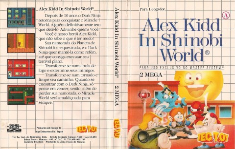 Capa da Tec Toy para o Alex Kidd in Shinobi World
