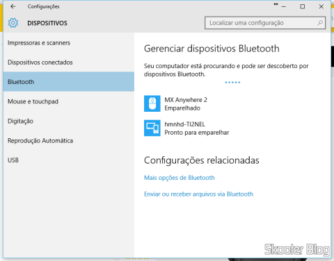 Bluetooth Devices configuration screen in Windows 10