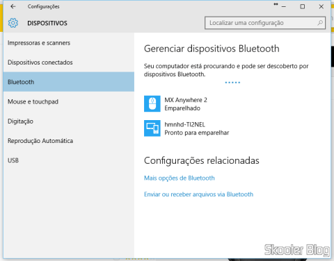 Tela de Configuração de Dispositivos Bluetooth no Windows 10