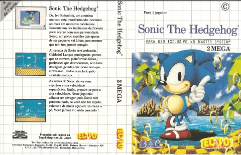 Capa do Sonic The Hedgehog, para o Master System