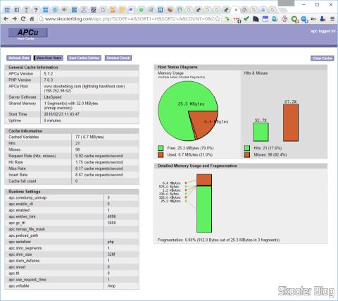 APCu em funcionamento com o W3 Total Cache no Skooter Blog